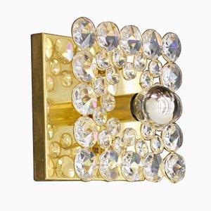 Aplique de pared de latón dorado y cristal de Christoph Palme para Palwa, años 70