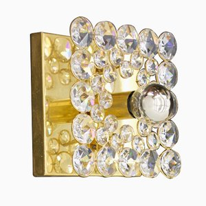 Wall Sconce in Gilded Brass & Crystal Glass by Christoph Palme for Palwa, 1970s