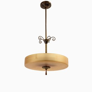 Art Deco Swedish Ceiling Light from Orrefors, 1930s