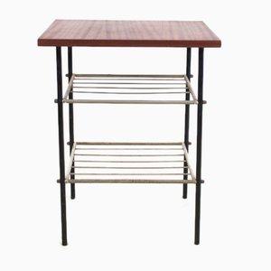 Tavolino vintage in metallo cromato e mogano, anni '70