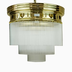 Art Nouveau Ceiling Lamp with Opaline Glass, 1900s