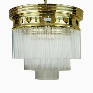 Lampada da soffitto Art Nouveau in vetro opalino, inizio XX secolo