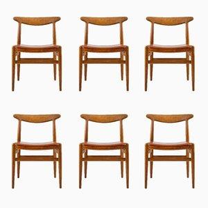 Vintage W2 Esszimmerstühle von Hans J. Wegner für Carl Hansen & Søn, 6er Set
