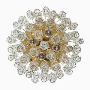 Lámpara de pared de vidrio y latón de Doria Leuchten, años 70