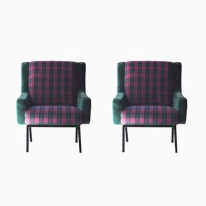Armchairs with Wooden Structure and Velvet and Tartan Upholstery, 1950s, Set of 2