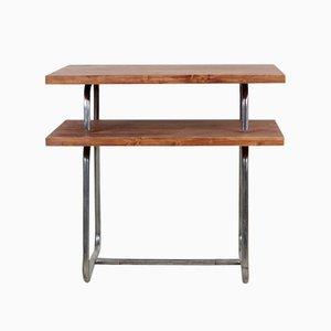 Tavolino vintage in stile Bauhaus in acciaio tubolare