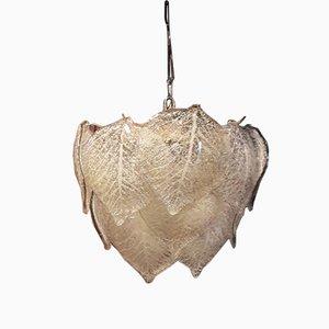 Lámpara colgante de cristal de Murano translúcido, años 60