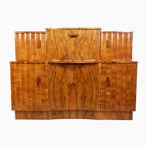 Fluted Walnut Sideboard with Bar Cabinet, 1930s
