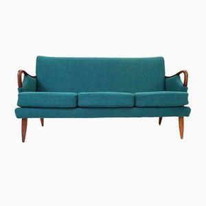 Vintage Norwegian Turquoise Wool & Teak 3-Seater Sofa, 1950s