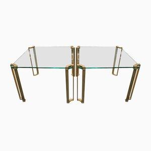 Extensiones de mesa vintage de latón y vidrio de Peter Ghyczy. Juego de 2