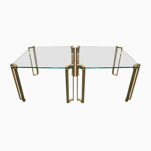 Table Vintage en Laiton & Verre par Peter Ghyczy, Set de 2