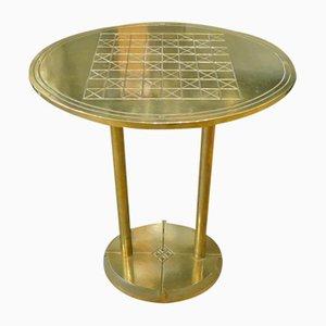 Tavolino con scacchiera in ottone di Peter Ghyczy