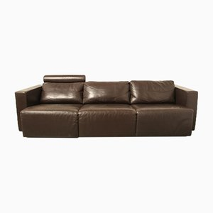 Vintage Modular Brown Leather Sofa by Walter Knoll