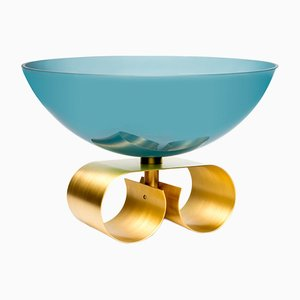 Large Parure II Glass Bowl in Blue by Cristina Celestino for Paola C.