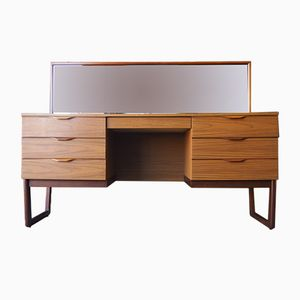Mid-Century Teak Veneer Dressing Table with Mirror from Europa Furniture