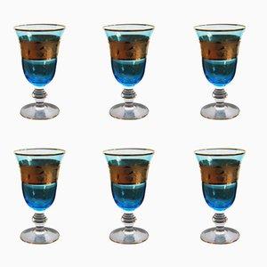 Copas de vino austriacas vintage en azul y dorado. Juego de 6