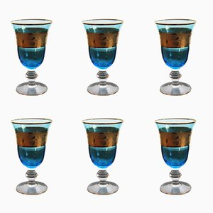 Vintage Austrian Blue & Gold Wine Glasses, Set of 6