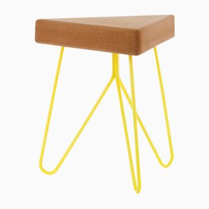 Três Stool in Light Cork with Yellow Legs by Mendes Macedo for Galula