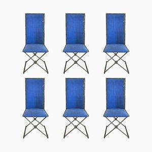 Französische Vintage Stühle aus vergoldetem Messing, 1970er, 6er Set
