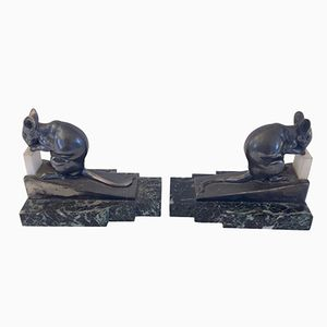 Vintage French Rat de Bibliotheque Bookends by Maurice Frecourt, 1930s, Set of 2