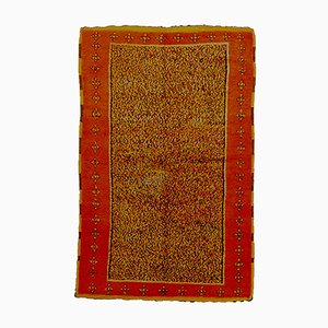 Vintage Saffron Yellow & Red Berber Rug
