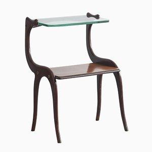 Mesa auxiliar de palisandro con tablero de vidrio de Osvaldo Borsani, años 50