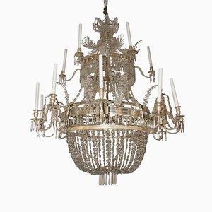 Lámpara de araña sueca vintage de vidrio y latón plateado, años 20
