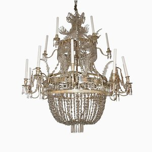 Vintage Swedish Glass and Silver Brass Chandelier, 1920s