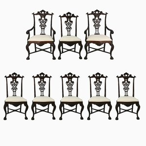 Vintage Portuguese Rosewood Chairs, Set of 8