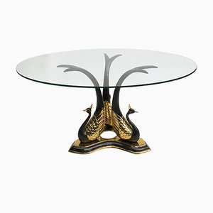 Vintage Brass Peacock Side or Coffee Table