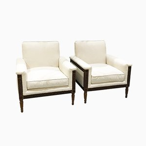 Wood Carved Cream Armchairs, 1960s, Set of 2