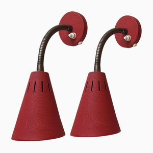 Mid-Century Danish Red Adjustable Wall Lights by E. S. Horn, 1950s, Set of 2
