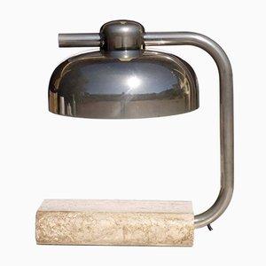 Lámpara de mesa italiana vintage de mármol travertino de Paolo Salvi, años 70