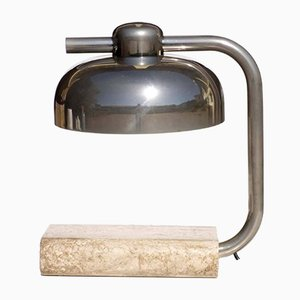 Lampe de Bureau Vintage en Marbre Travertin par Paolo Salvi, 1970s
