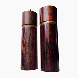 Rosewood Salt Shaker & Wenge Pepper Mill by Sven Petersen for SAAP, 1950s, Set of 2