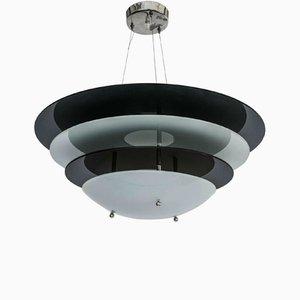 Lámpara de araña vintage con discos blancos y negros de Gino Sarfatti para Arteluce