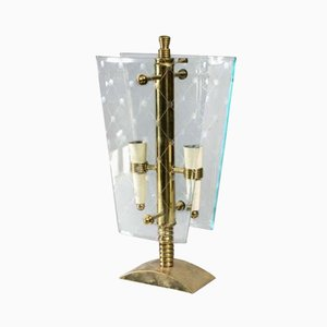 Vintage Italian Brass and Glass Table Lamp by Pietro Chiesa