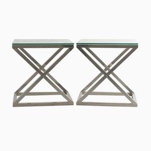 Mesas auxiliares italianas vintage de metal cromado y vidrio de Willy Rizzo, años 70. Juego de 2