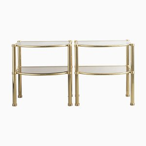 Italian Brass & Fume Glass Side Tables, 1980s, Set of 2