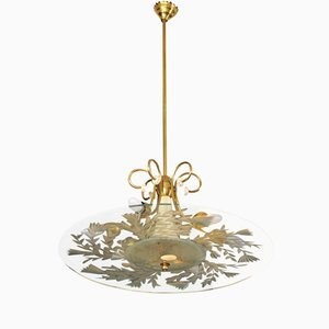 Italian Lacquered Aluminium and Brass Ceiling Lamp from Fontana Arte, 1950s