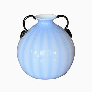 Blue Vase with Black Handles, 1940s