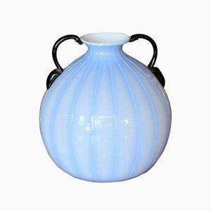 Vase Bleu avec Poignées Noires, 1940s