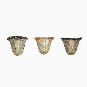 Lámparas de pared en forma de concha de Mazzega, años 70. Juego de 3