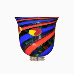 Vaso in vetro multicolore di Salviati, anni '50