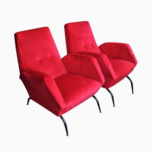 Red Armchairs by Morbelli Aldo for ISA, 1950s, Set of 2
