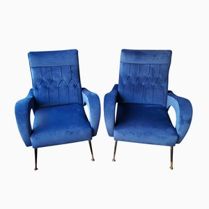 Vintage Italian Blue Lounge Chairs, 1950s, Set of 2