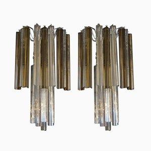 Lámparas triangulares de vidrio de Venini, años 70. Juego de 2