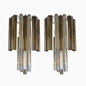 Triangular Glass Wall Lights from Venini, 1970s, Set of 2