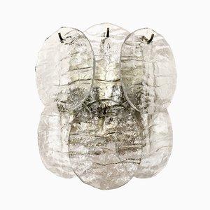 Eisglas Wandlampe von J.T. Kalmar für Franken KG, 1960er