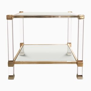 Square Lucite and Glass Coffee Table by Pierre Vandel, 1970s